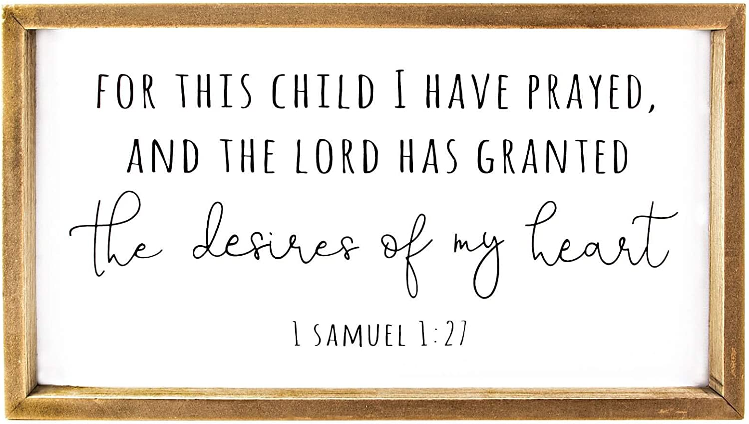 VILIGHT Wood Nursery Wall Decor for Girl and Boy - New Mom Gifts Framed Rustic Signs for Kids - for This Child, I Have Prayed - 16x8.6 Inches