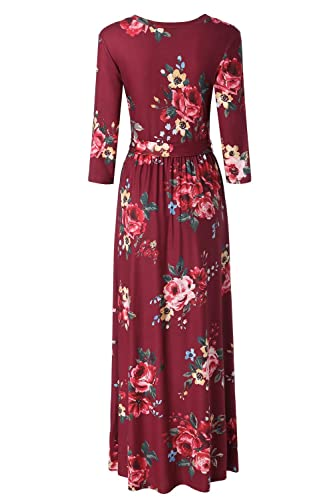 84513299fb0 Zattcas Womens 3 4 Sleeve Floral Print Faux Wrap Long Maxi Dress with Belt  at Amazon Women s Clothing store