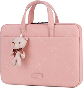 BRINCH 15.6 Inch Laptop Sleeve Case Briefcase Carrying Case Handbag Water Repellent Polyester Protective Case Cover for 15 Inch Acer/Asus/HP/Dell/Lenovo/Apple MacBook/Samsung/Sony (Pink)