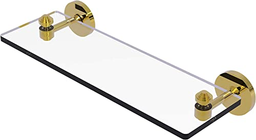 Allied Brass SB-1 16 South Beach Collection 16 Inch Vanity Beveled Edges Glass Shelf, Polished Brass