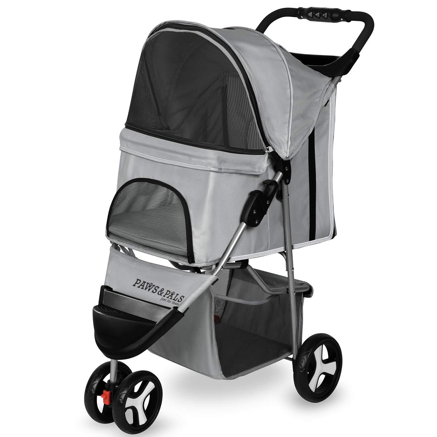Paws & Pals 3 Wheeler Elite Jogger Pet Stroller Cat/Dog Easy Walk Folding Travel Carrier, Gray by Paws & Pals