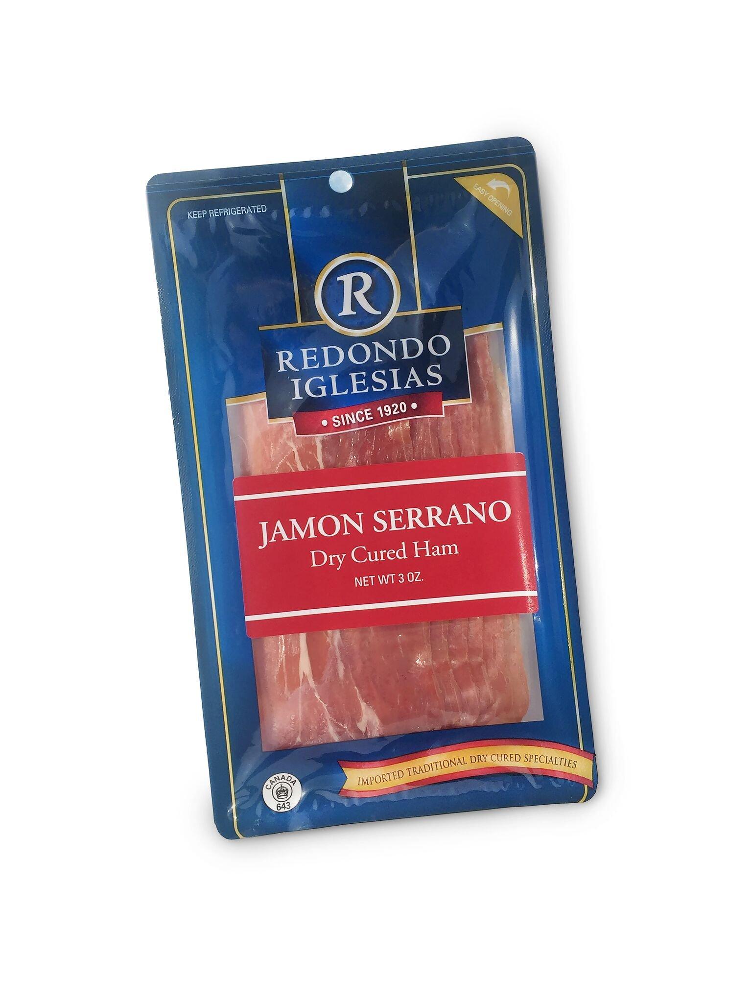 Jamon Serrano Sliced 12 x 3 Oz - 15 months aged dry cured ham by Redondo Iglesias