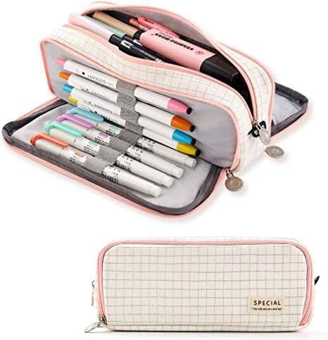 Pencil Cases Standing Canvas Pencil Pouch Big Capacity Pencil Holder Bag Pen Organizer Storage Stationery Accessories Office Supplies for Boys Girls Students