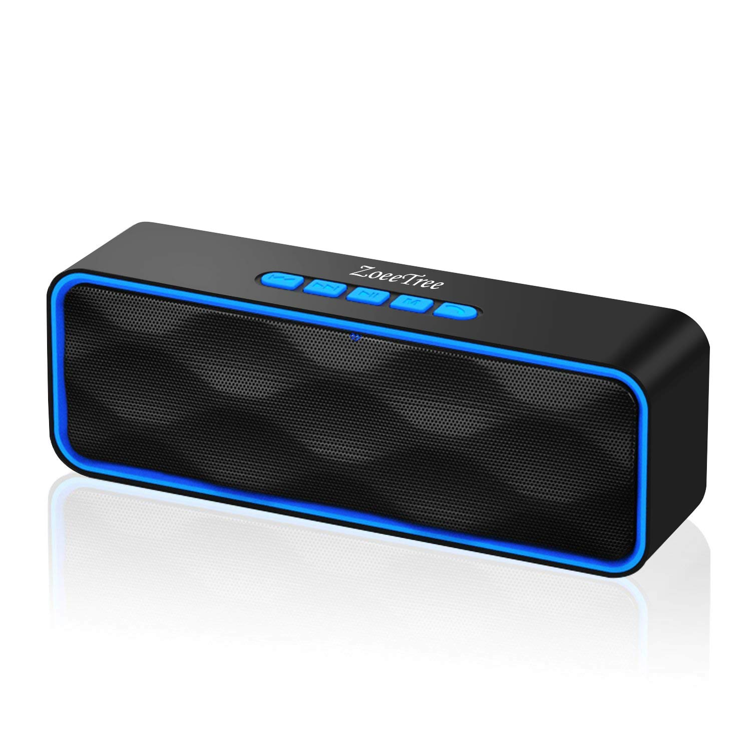 ZoeeTree S1 Wireless Bluetooth Speaker with HD Audio and Enhanced Bass, Built-In Dual Driver Speakerphone