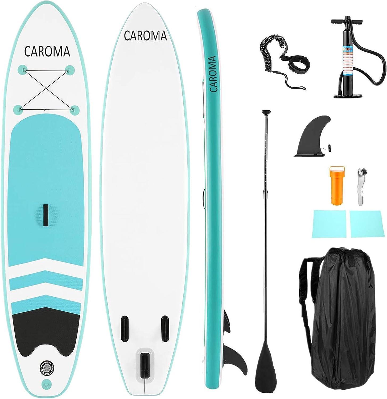 Caroma Tablas Hinchables de Paddle Surf, Paddle Remo de Ajustable Inflable Sup   Bomba   Aleta Central Desprendible   Surf Leash   Mochila   Kit de ...