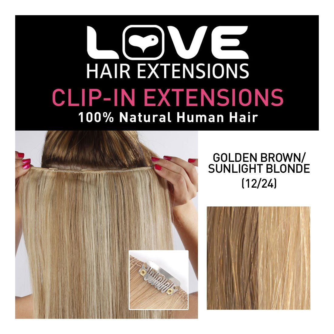 Love Hair Extensions 100 Human Hair Clip In Extensions Colour 1224