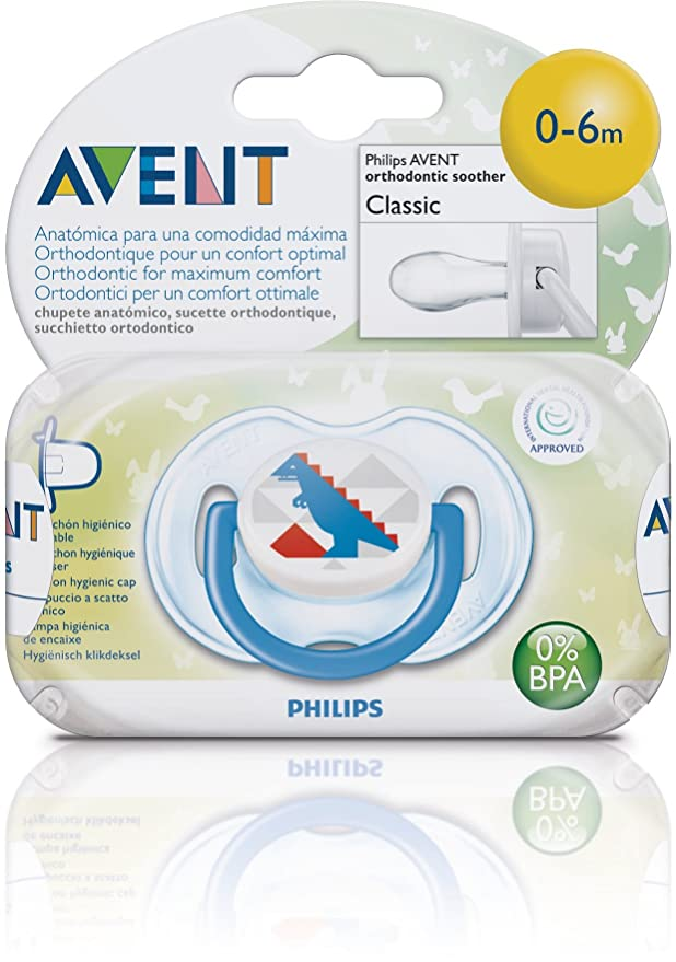 Philips Avent SCF172/12 - Chupetes decorados 0-6 meses con tetina de silicona anatómica, capuchón higiénico encajable y anilla de seguridad (1 ...