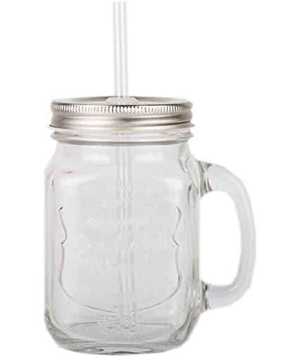 ac6471e65e1 Clear Retro Clear 15oz Handled Summer Cocktail Jam Jars Beer Glass BBQ  Drinking Lid Straw
