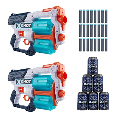 X-Shot Excel Double Xcess Foam Dart Blaster (24 Darts, 6 Cans) by Zuru: Toys & Games