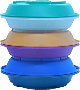 Lock It Plates' to-go Reusable food container with built on beverage holder - 3 Containers. Microwave Safe, Dishwasher Safe, Freezer Safe.