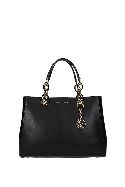 d040f6d85003fd Michael Kors Borsa a mano Cynthia in pelle nera: Amazon.it: Abbigliamento