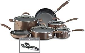 Farberware 10570 Millennium Nonstick Cookware Pots and Pans Set, 12 Piece, Bronze