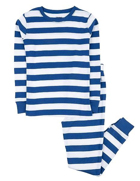bef9b221e Leveret Kids Boys Striped 2 Piece Pajama Set 100% Cotton (2 Toddler, Blue
