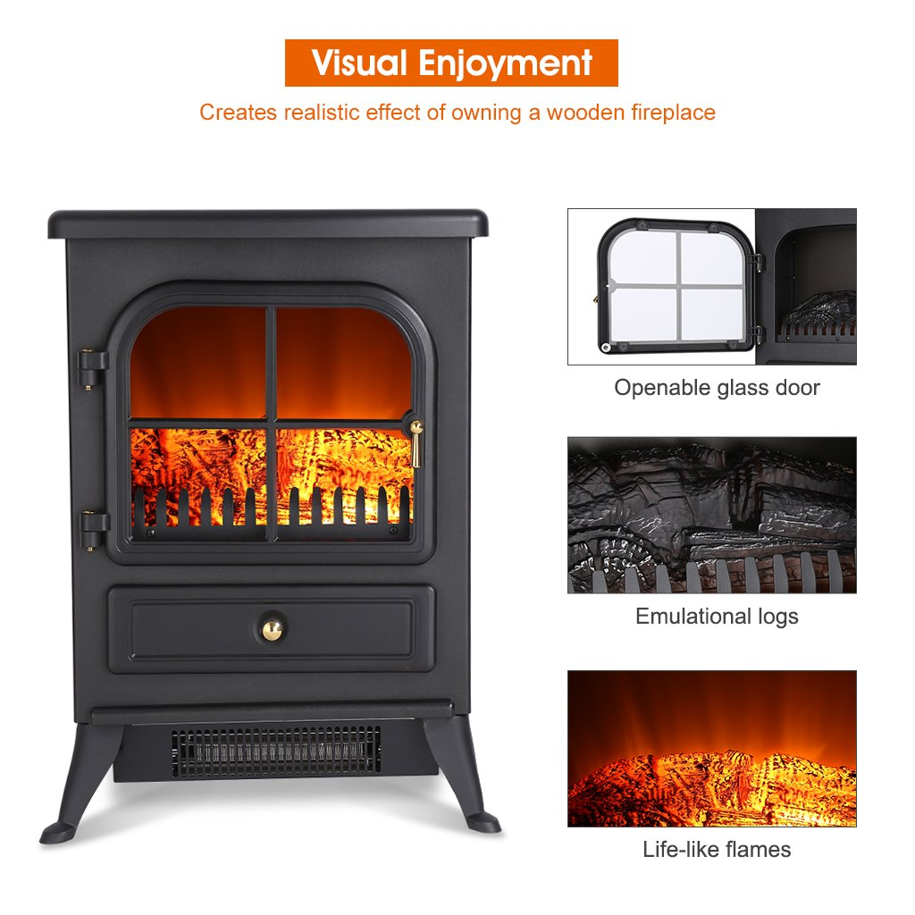 amazon com finether portable electric fireplace stove heater