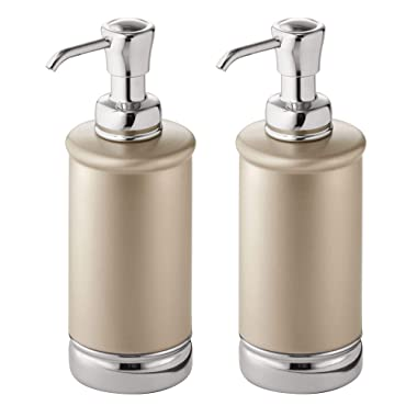 mDesign Refillable Liquid Hand Soap Dispenser Pump Bottle for Kitchen, Bathroom | Also Can be Used for Hand Lotion & Essential Oils - Pack of 2, Tall, Pearl Champagne/Chrome
