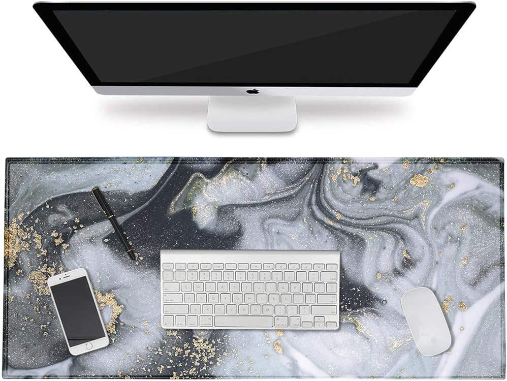 "HAOCOO Desk Pad, Office Desk Mat 31.5"" ×15.7"" Large Gaming Mouse Pad Durable Extended Computer Mouse Pad Water-Resistant Thick Writing Pads with Non-Slip Rubber Base for Office,Gray&Gold Marble"