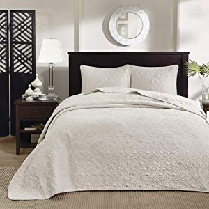 Madison Park Quebec Queen Size Quilt Bedding Set - Ivory , Damask – 3 Piece Bedding Quilt Coverlets – Ultra Soft Microfiber Bed Quilts Quilted Coverlet