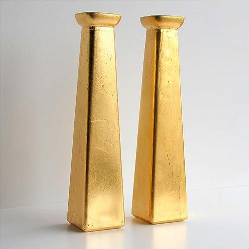 Red Pomegranate Gilt Set of 2 Bud Vases, 11 , Gold Gilded