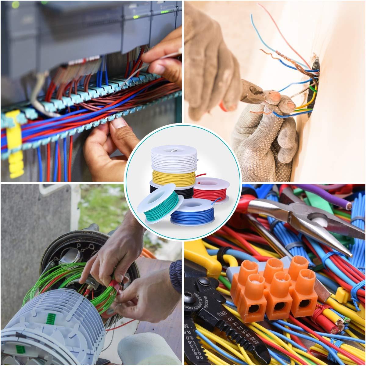 6 Carretes 10 Metros 22 AWG Cable S/ólido Cable de Cobre Esta/ñado Cable Flexible de Silicona Alambres El/éctrico con 24 pz Tubo Termorretr/áctil 36 pz Amarre Cable 1pz Mini Pelacables
