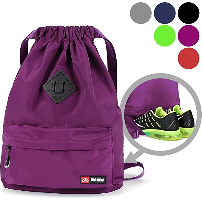 Drawstring Backpack String Bag Sackpack Cinch Water Resistant Nylon for Gym Shopping Sport Yoga by WANDF (Purple) best gym backpacks