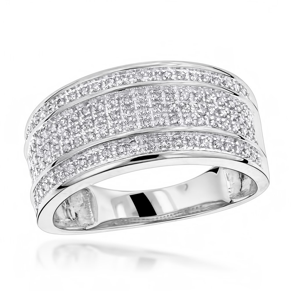 Luxurman Unique Wedding Bands 10K Five Row Natural 0.4 Ctw Diamond Ring For Men (White Gold Size 10)