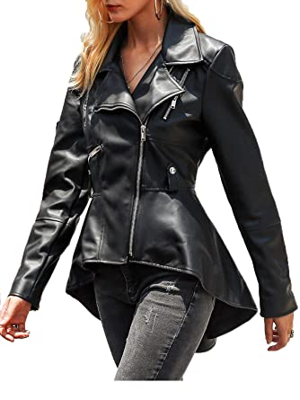 604fd2bce Fashiomo Women's Faux Leather Biker Jacket High Low Peplum Out Coat