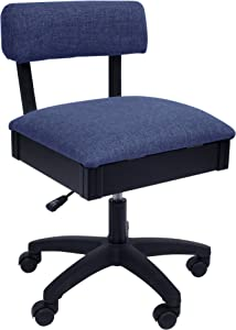 Arrow H8130 Adjustable Height Hydraulic Sewing and Craft Chair with Under Seat Storage and Solid Fabric, Duchess Blue Fabric