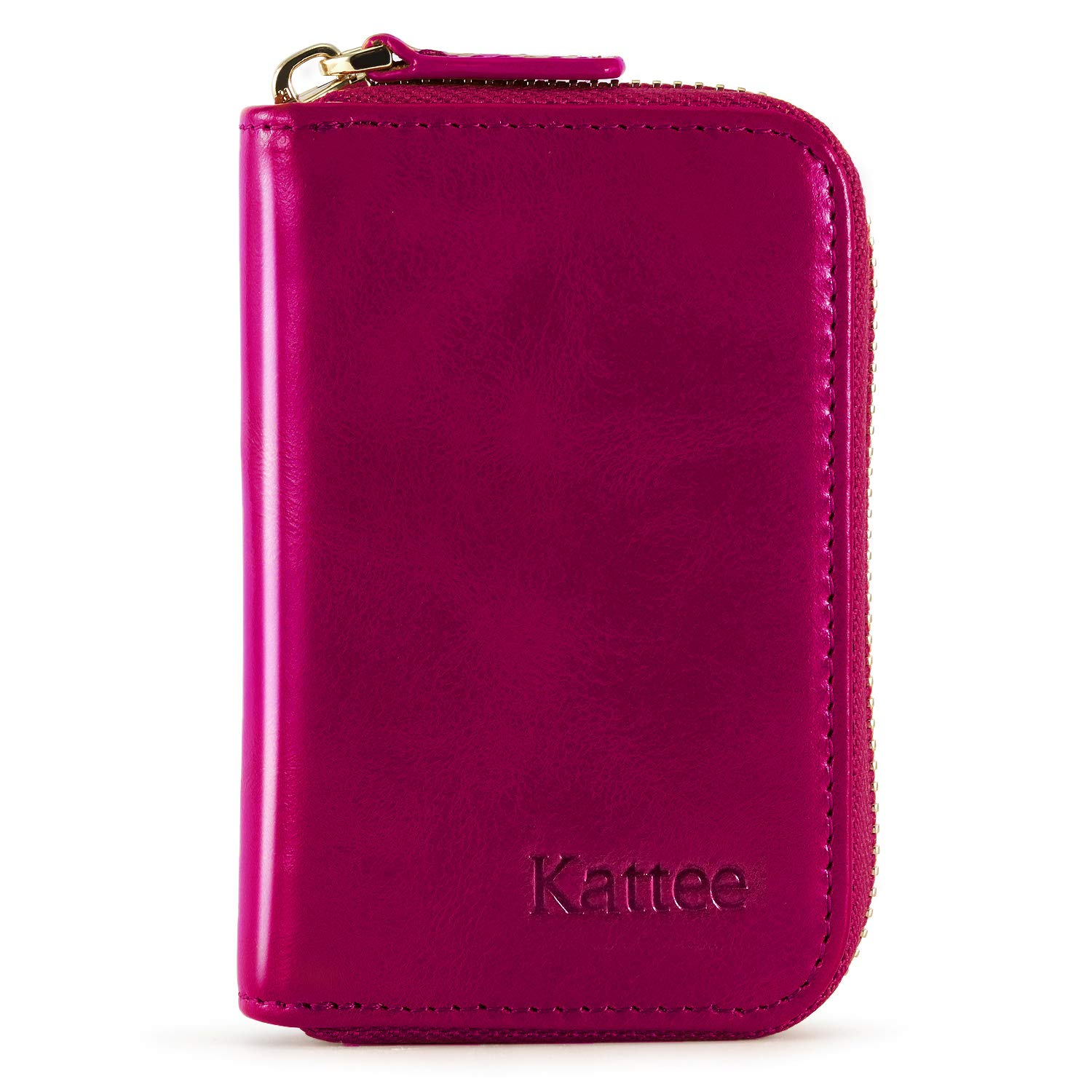 Kattee Womens RFID Blocking Small Compact Credit Card Holder Leather Zipper Pocket Wallet