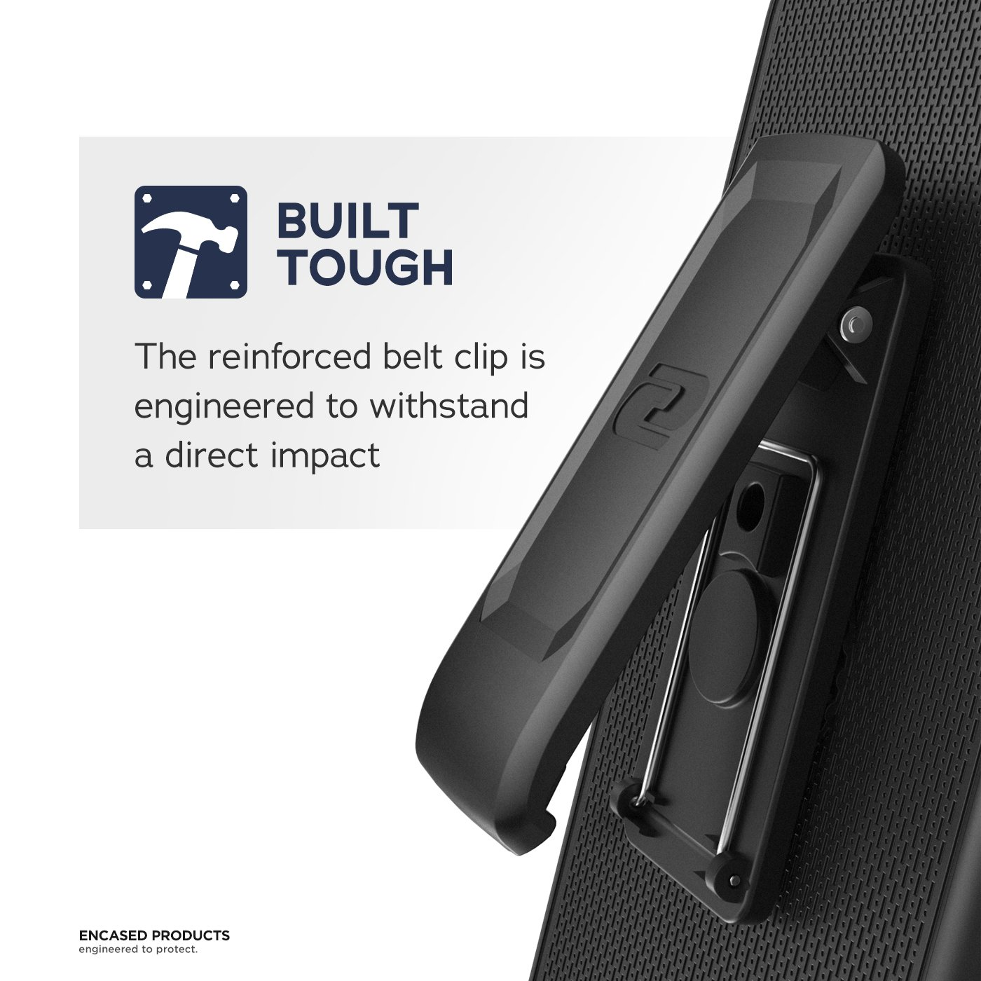Encased DuraClip for iPhone 8 Plus Belt Clip Case, Thin Fit Holster Shell Combo Slim Cover with Rubberized Grip for Apple iPhone 8 Plus 5.5'' (Black) by Encased (Image #2)