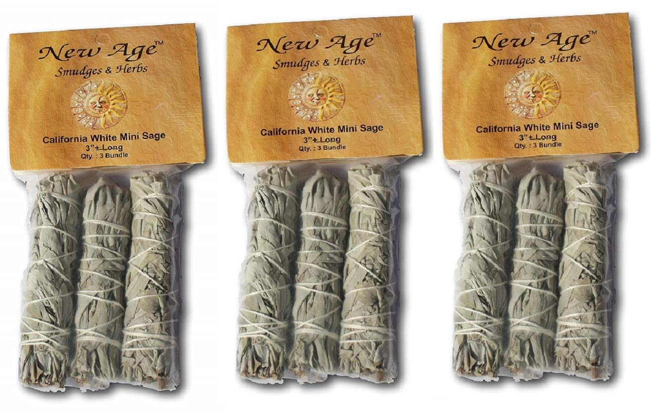 New Age Smudges and Herbs MCWS3 California Mini Sage Wands, 4-Inch, 3 X Pack of 3, White by New Age Smudges and Herbs (Image #1)