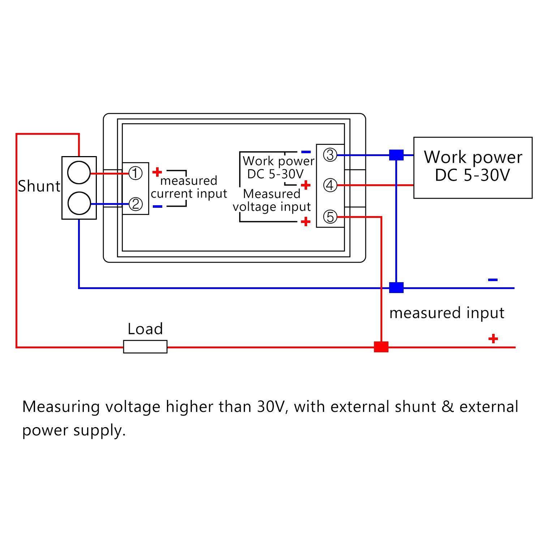 Digital Voltmeter Ammeter 50A Volt Amp Tester Meter Gauge Panel 199.9V Droking DC 0-200V LCD Display Battery Current Voltage Detector Multimeter with 75mV Shunt