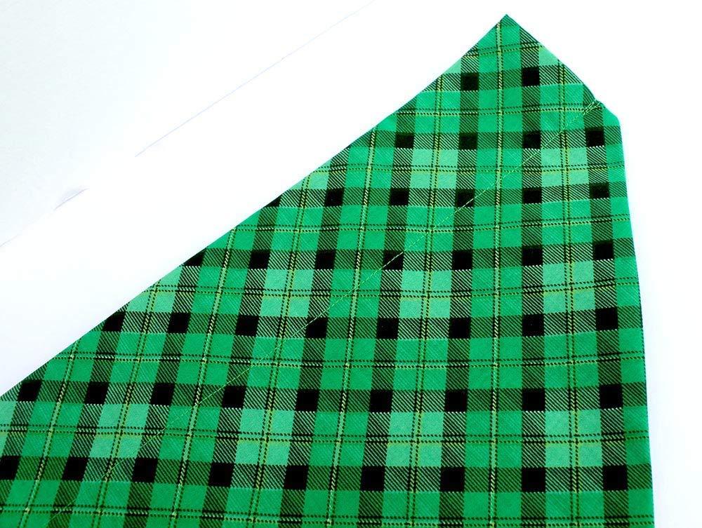 Patricks day dog bandana slip over the collar Green Plaid St