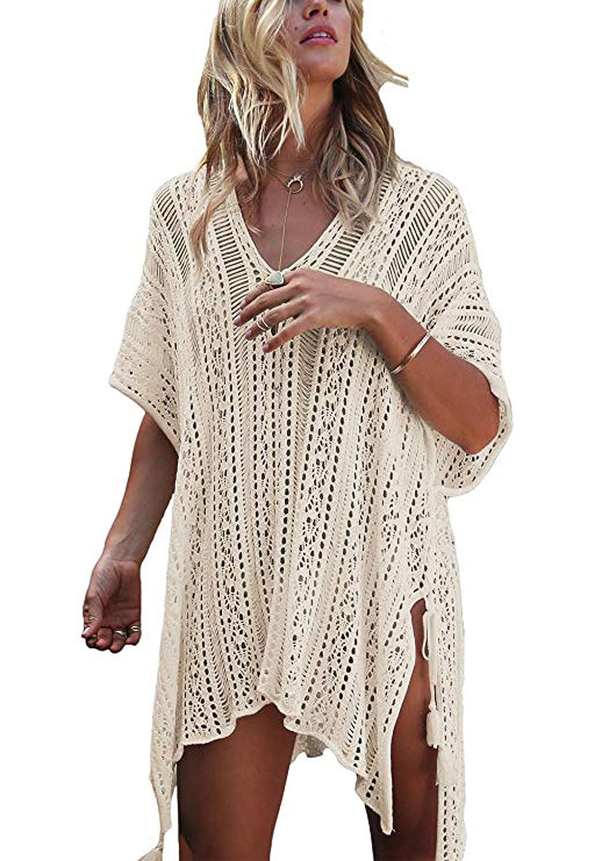 1apricot Diukia Women's Casual Bathing Suit Cover up Beach Bikini Swimsuit Swimwear Crochet Dress