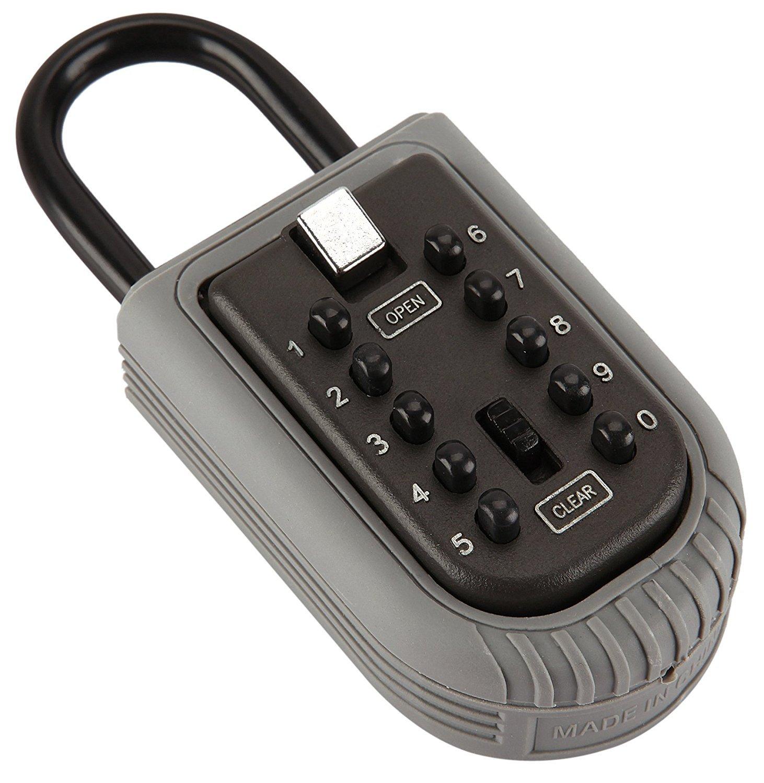 Key safe lock box Ksun Portable push-button combination lock exterior outdoor waterproof hide Padlock Box Secure Box Keys Holder combination for Home/House use Key Storage Lock Box by Ksun (Image #2)
