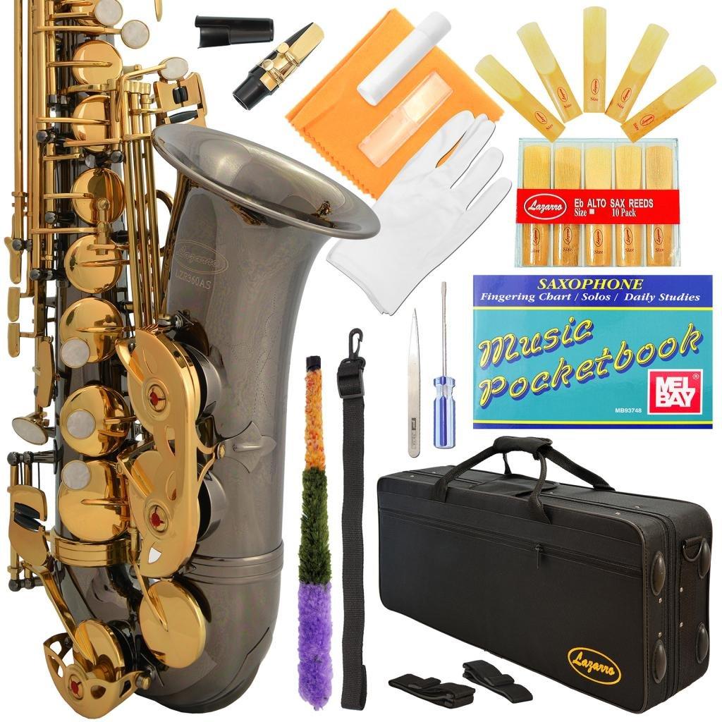 Saxofón alto Negro NIckel Lazarro con funda y accesorios xmp