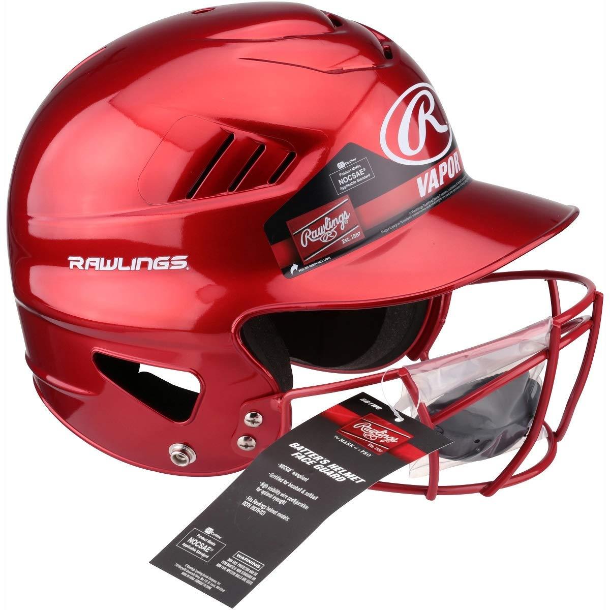 RED Rawlings Vapor Baseball//Softball Batters Helmet /& Face Guard Mask