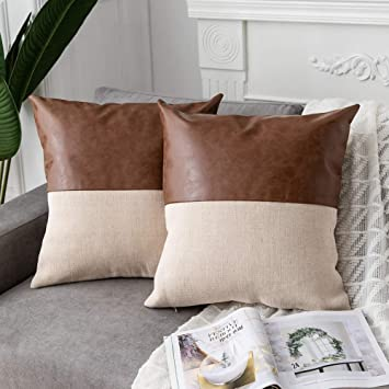 DEZENE 2 Pack Faux Leather with Cotton Linen Decorative Throw Pillow Covers  for Couch Sofa Car, Accent Square Pillow-Cases for Cushion Covers, 18 x 18  ...