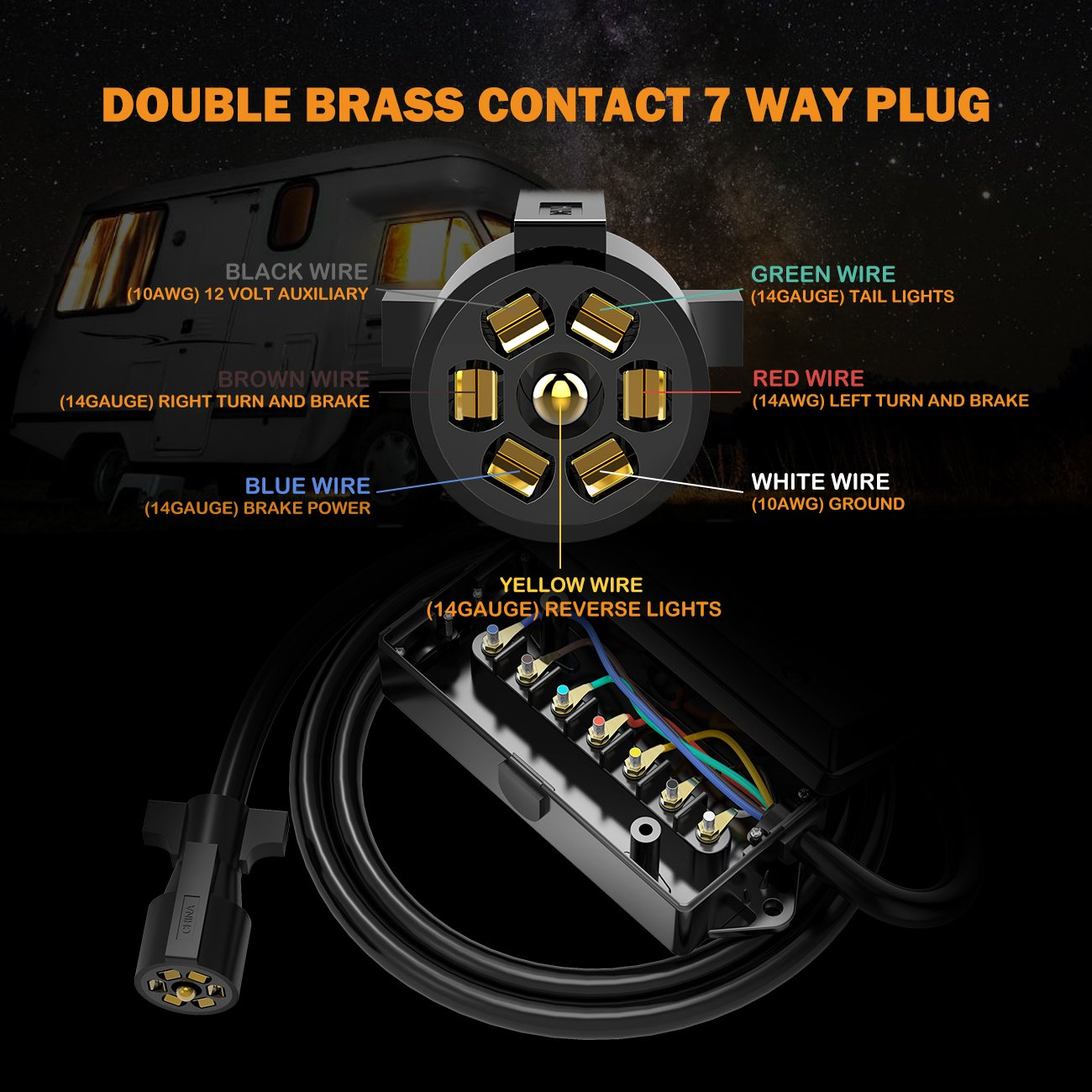Auxbeam 7 Way Trailer Plug Inline Cord With Wiring A Red White And Black Wires Gang Junction Box For Campers Caravans Food Vans8 Feet Automotive