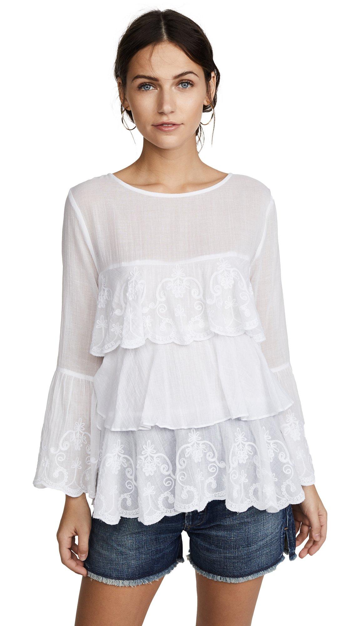 OndadeMar Women's Whites Blouse, White, Small