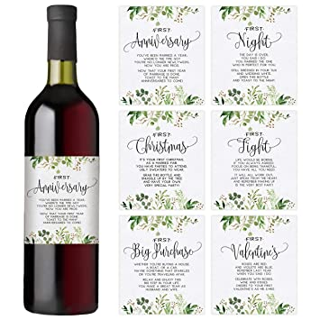 Amazon Greenery Wedding First Wine Bottle Labels Set Of 6