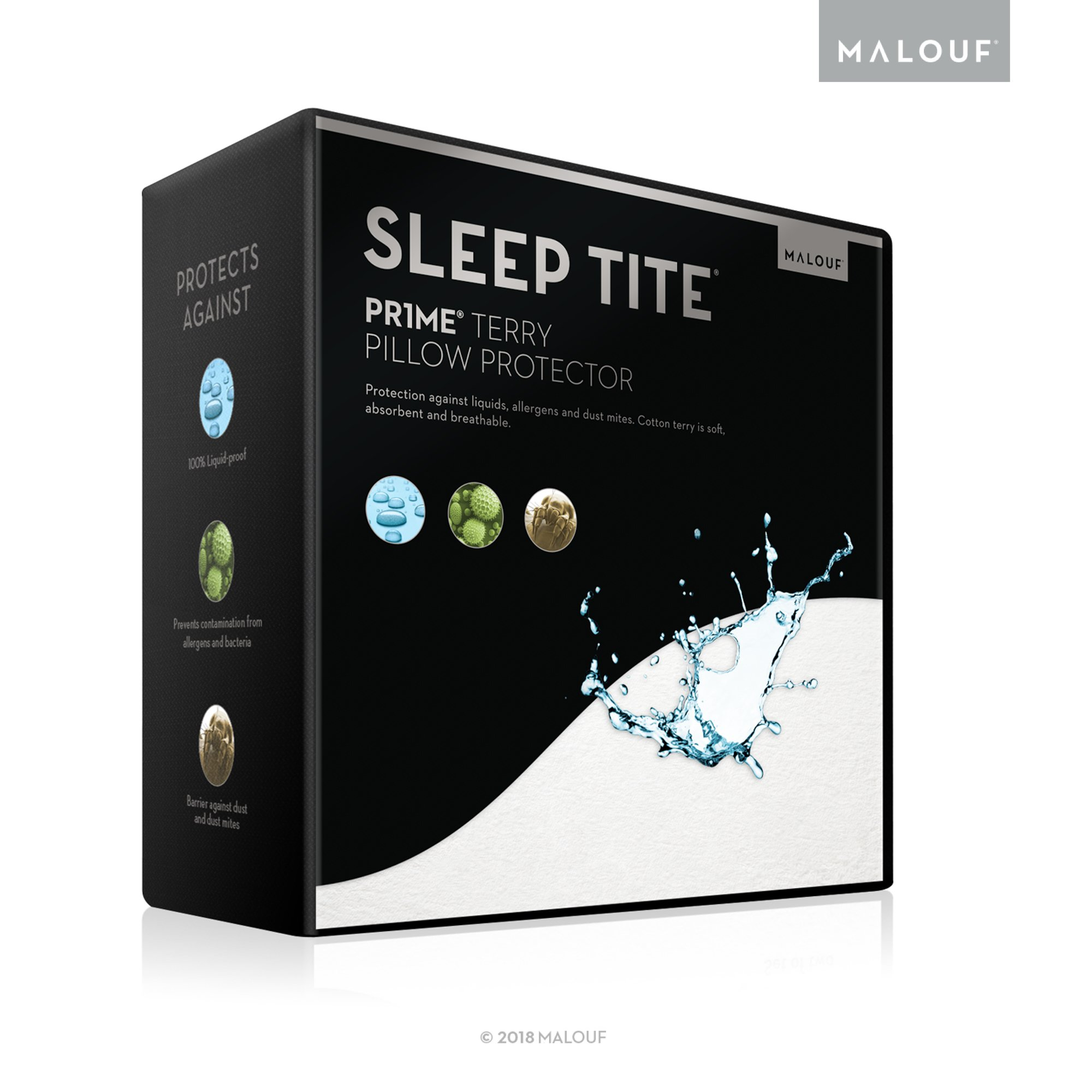 Sleep Tite Hypoallergenic 100% Waterproof Pillow Protector- 15-Year Warranty - Set of 2 - Standard by MALOUF (Image #1)