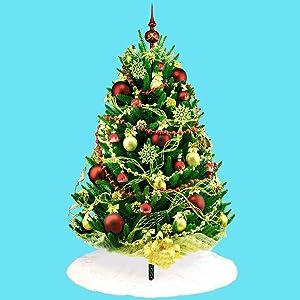 Christmas White Plush Tree Skirt, 48 inches Diameter Xmas Tree Skirt for Christmas Tree Holiday Party Christmas Tree Decoration Farmhouse Family