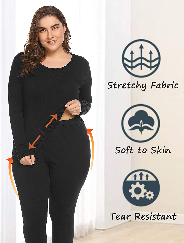 INVOLAND Womens Plus Size Thermal Underwear Fleece Lined Long Johns Set Winter Top/&Pants Pajama