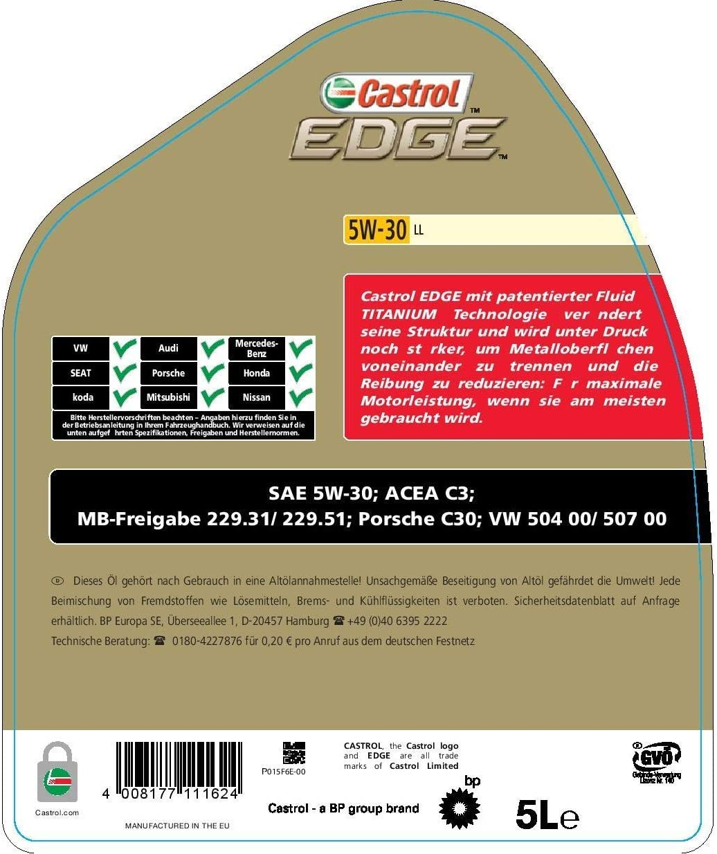 Castrol 57420 EDGE Titanium Aceite para Motor FST 5W-30 LL, 5L ...