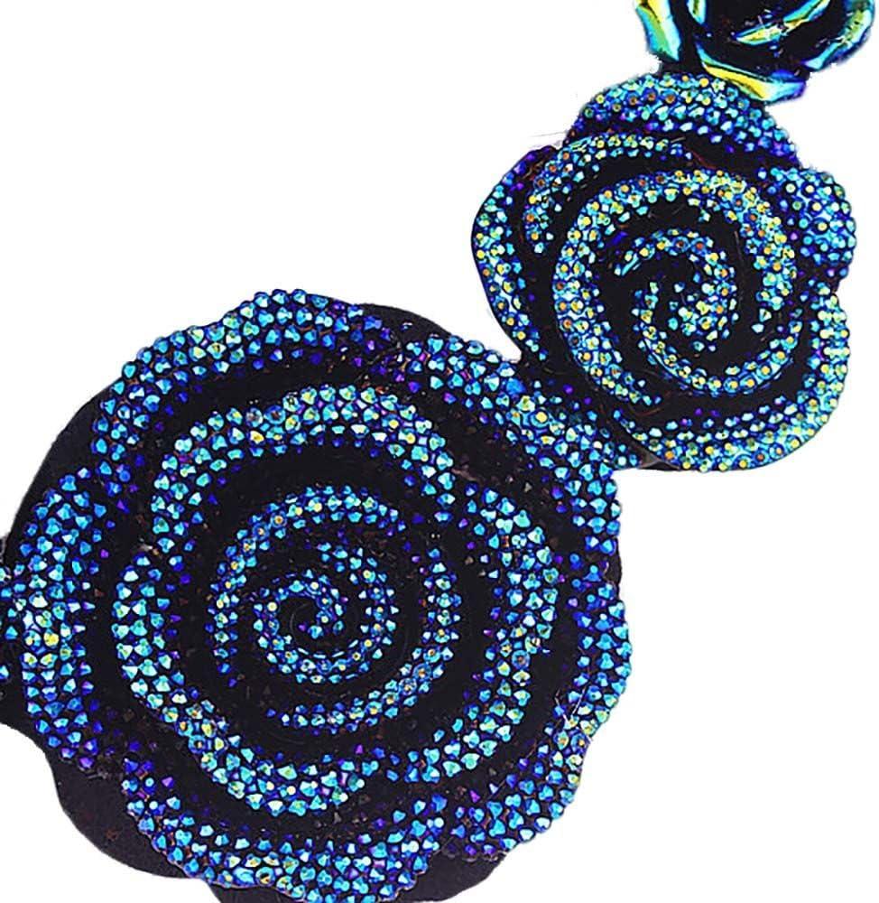 HuntGold Vintage Damen Kristall 7 Harz Liebesrosen Blumen Anh/änger Halskette Geschenk Schmuck Blau