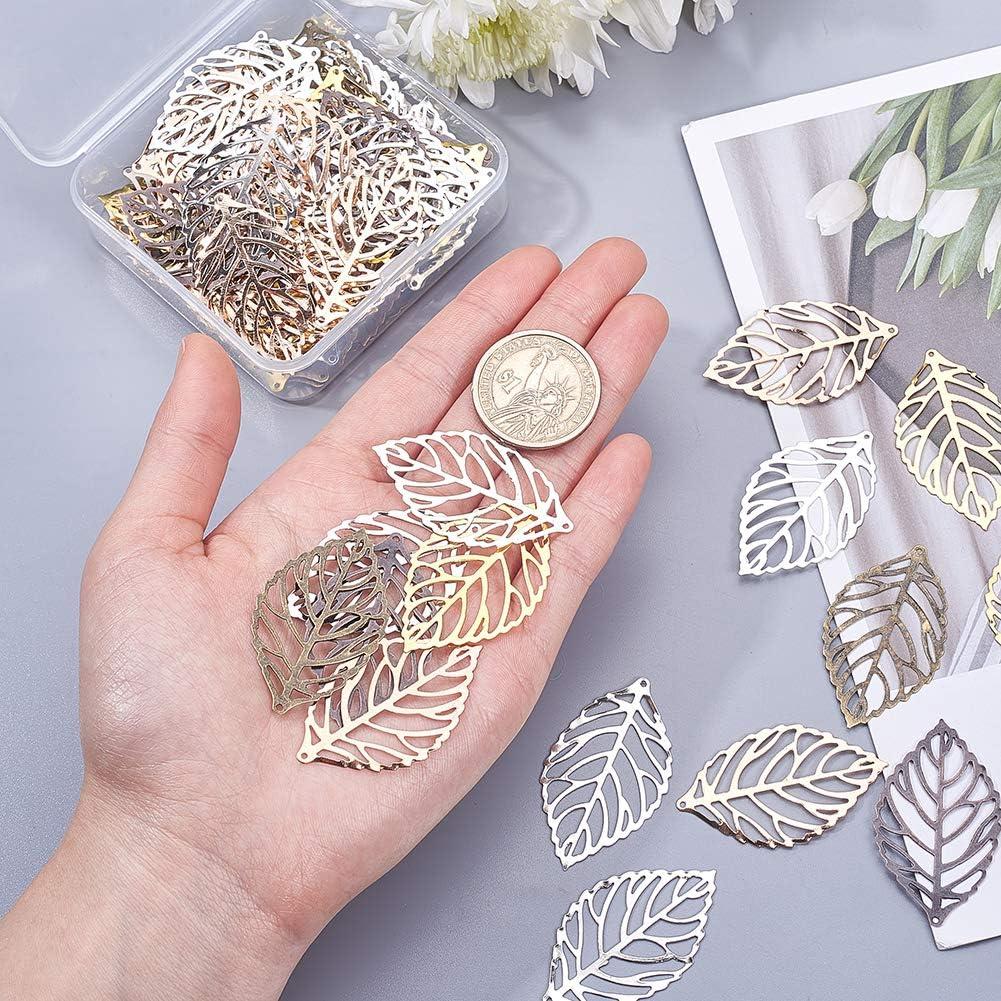 horquilla joyer/ía hecha a mano bricolaje PandaHall 120 dijes de hoja hueca para decoraci/ón para hacer joyas manualidades de metal accesorio para la cabeza