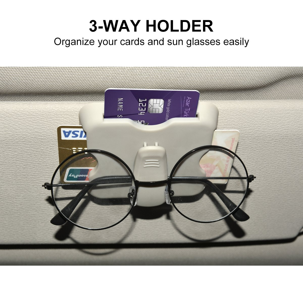 Car Sunglasses Clip Eyeglasses Holder with 3 Way Card Slot for Credit Card//Business Card//Expressway IC Pass Card Glasses Storage Bag Multifunction Car Glasses Holder Sun Visor Clip