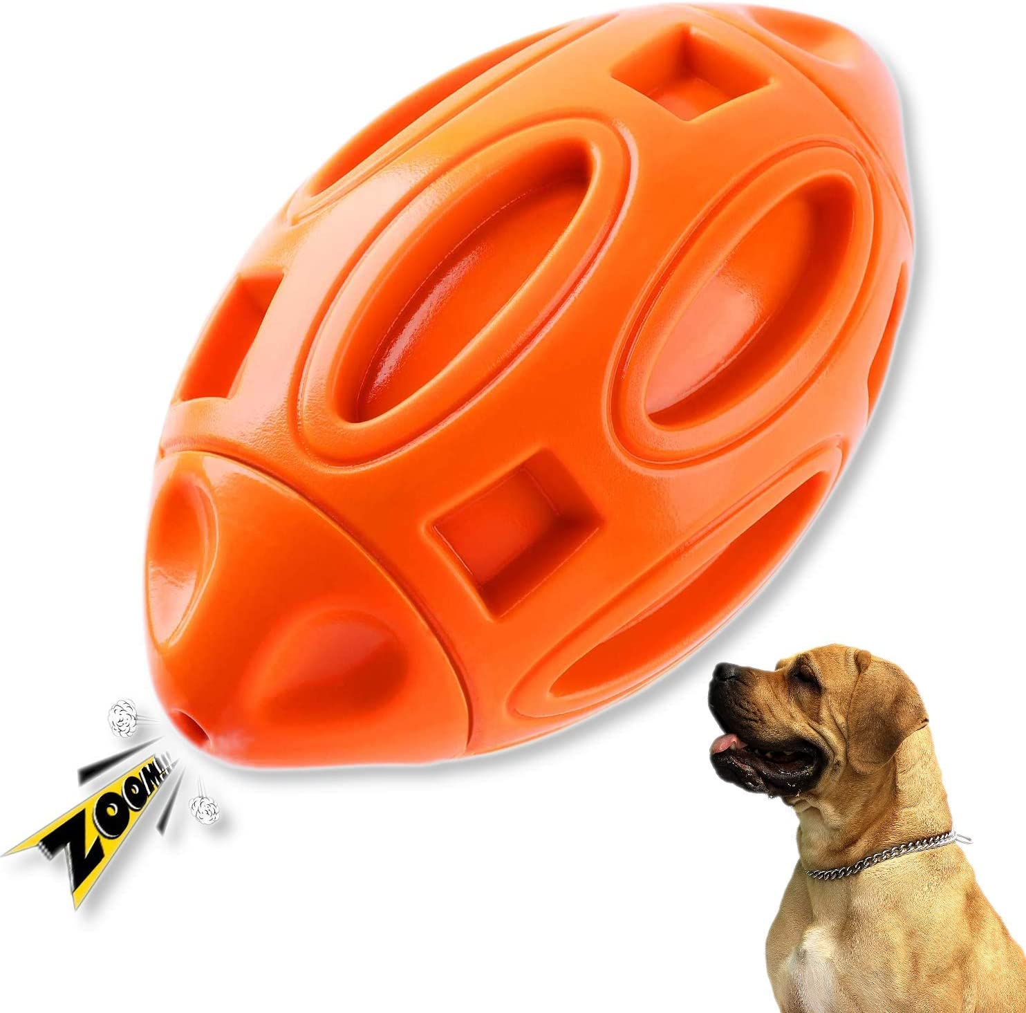 AccuteInsite Durable Rubber Football Squeaky Toys for Aggressive Chewers Toughest, Dog Squeaking Interactive Toys Tough Dog Chew Toys Ball for Medium and Large Breed, Natural Rubber Pet Toys