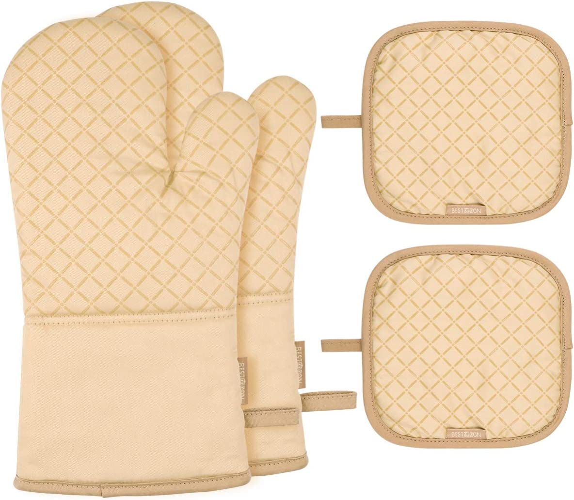 BESTonZON 4PCS Heat Resistant Oven Mitts and Pot Holders, Soft Cotton Lining with Non-Slip Surface for Safe BBQ Cooking Baking Grilling(Beige)