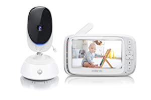 "Motorola Comfort 75 Video Baby and Home Monitor, 5"" LCD Color Screen Display with Remote Pan Scan, Two-Way Communication, Infrared Night Vision, 5 Soothing Lullabies"